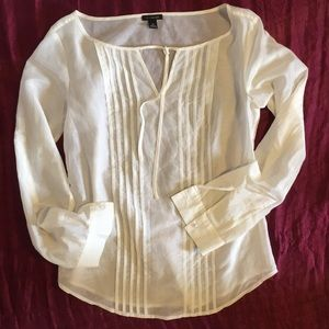 Ann Taylor Cotton-Silk Pleated Tie-Neck Blouse